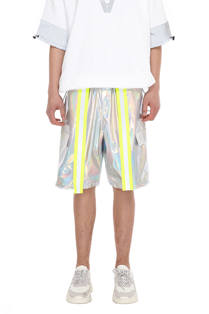 HOLOGRAM SCOTCHLITE SHORT PANTS (SILVER)
