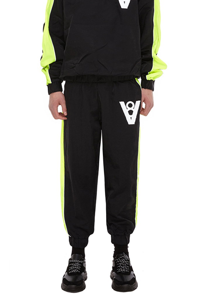 LINE PATCH JOGGER PANTS (BLACK & NEON)