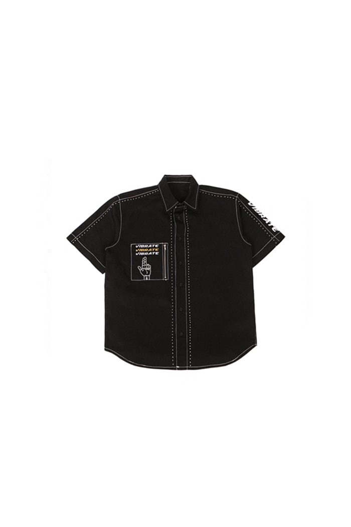 STUD COTTON SHIRT (BLACK)