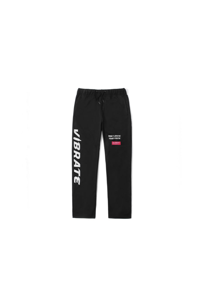 SIDE LOGO PRINT JERSEY PANTS (BLACK)