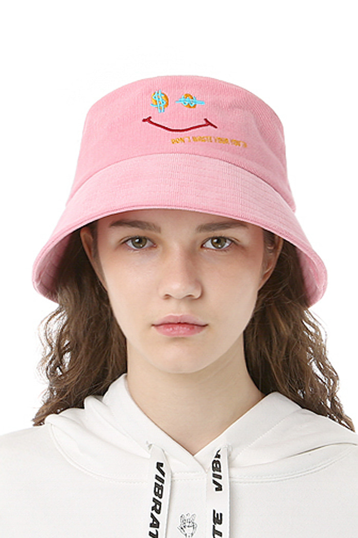 CORDUROY SMILE BUCKET HAT (PINK)