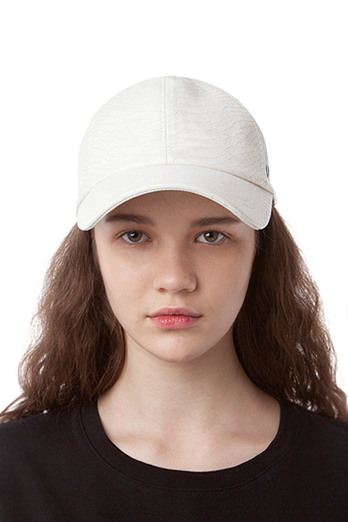 CROCODILE LEATHER BALL CAP (WHITE)
