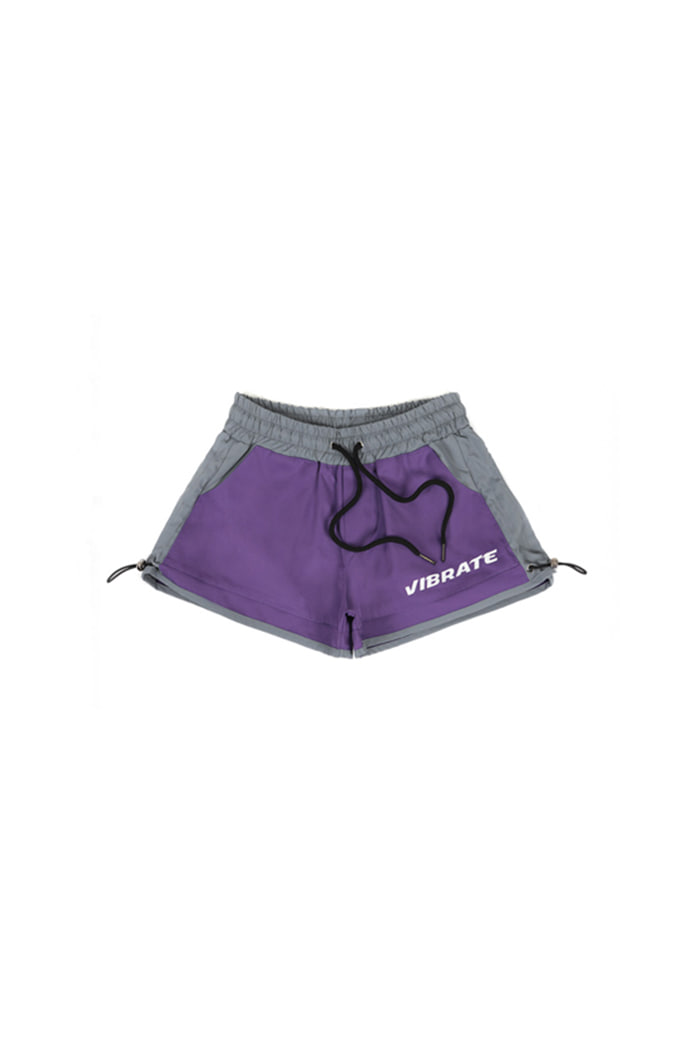 HIP LETTERING SHORT PANTS (PURPLE&GRAY)