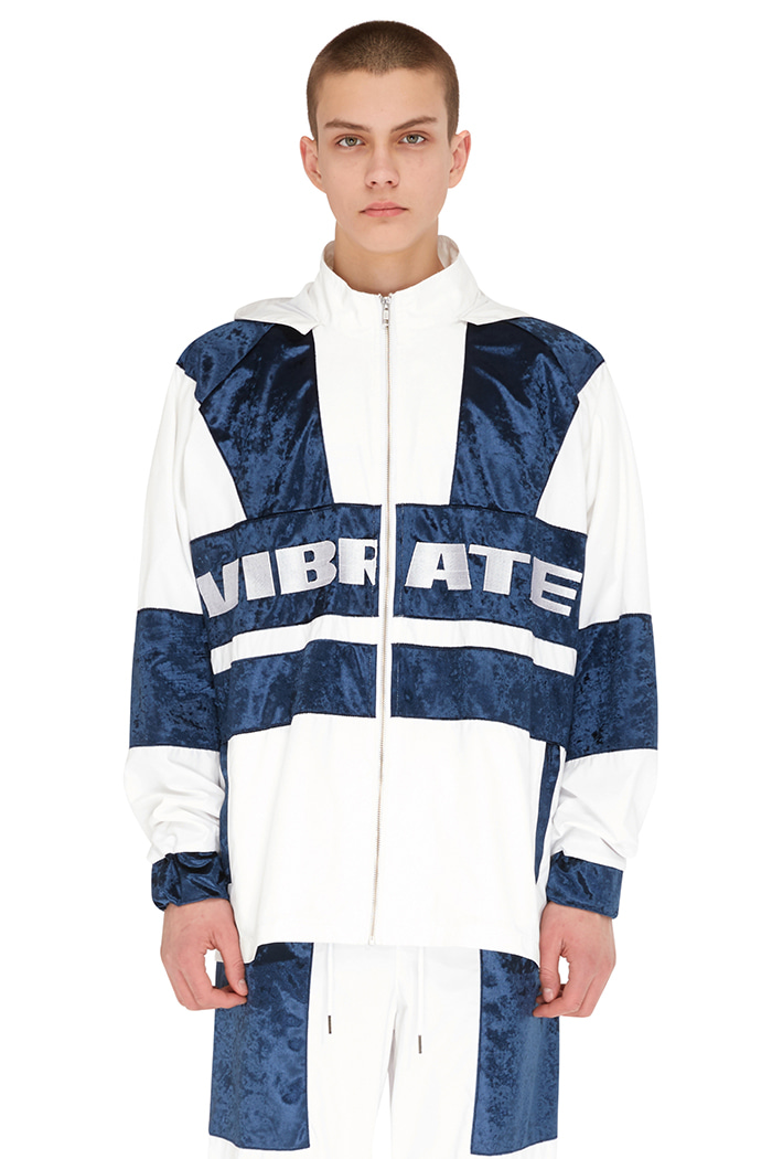 VELVET COLOR SCHEME WIND BREAKER (WHITE&BLUE)