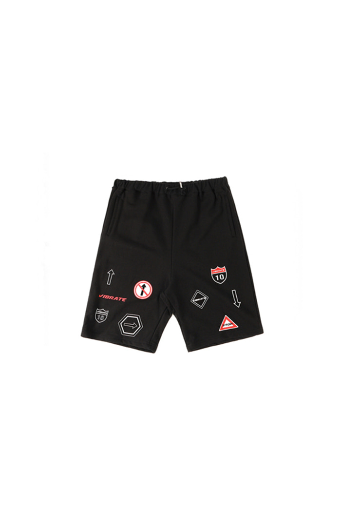 TRAFFIC SIGN SHORT PANTS (BLACK)