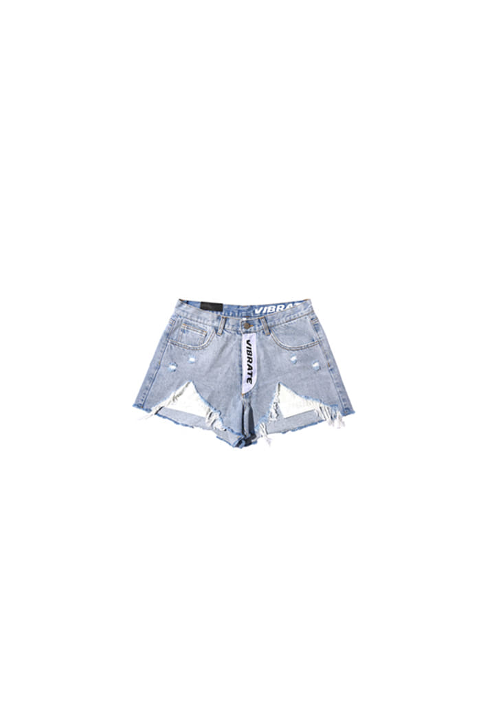 DAMAGE UNBALANCE SHORT PANTS (LIGHT DENIM)