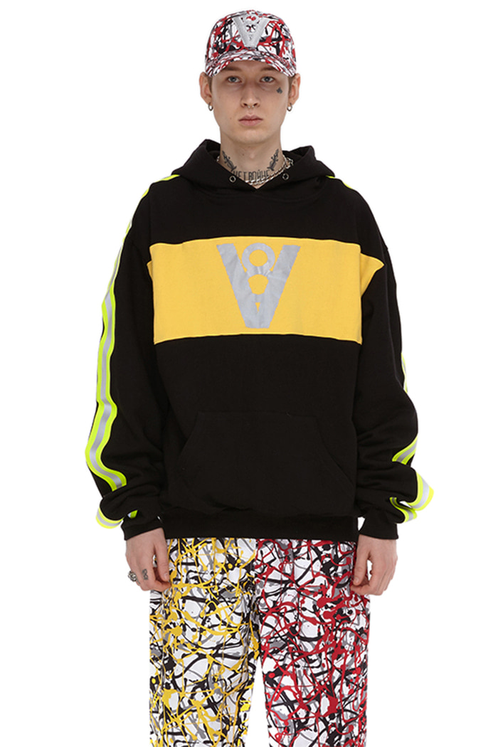 LONG SLEEVE POINT HOODIE (BLACK&YELLOW)