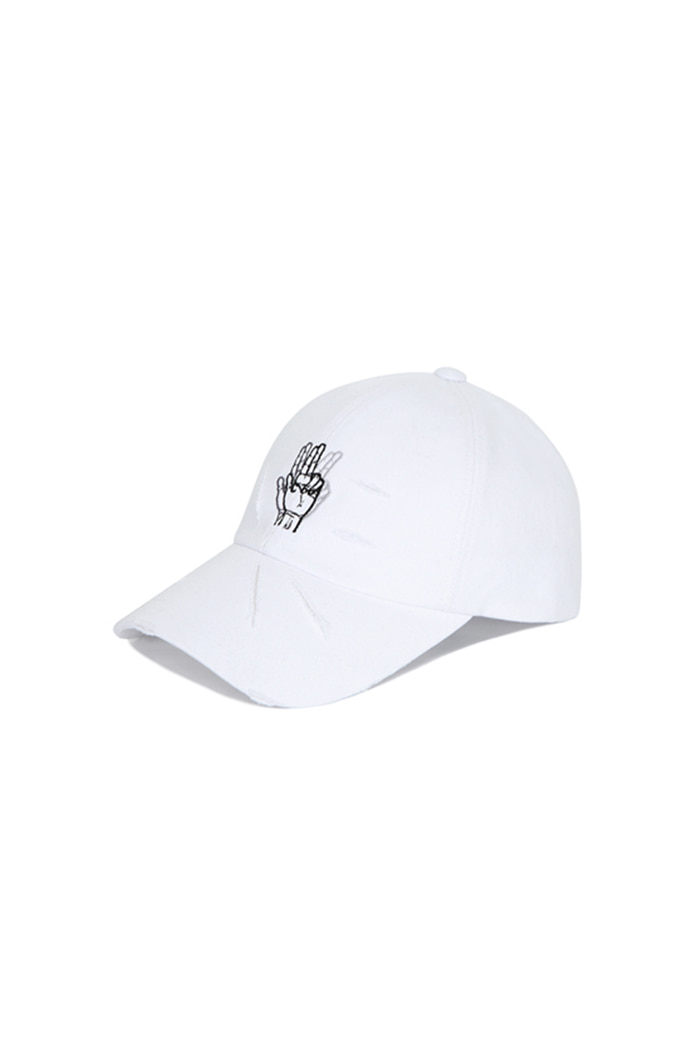 DAMAGED FINGER BALL CAP (WHITE)