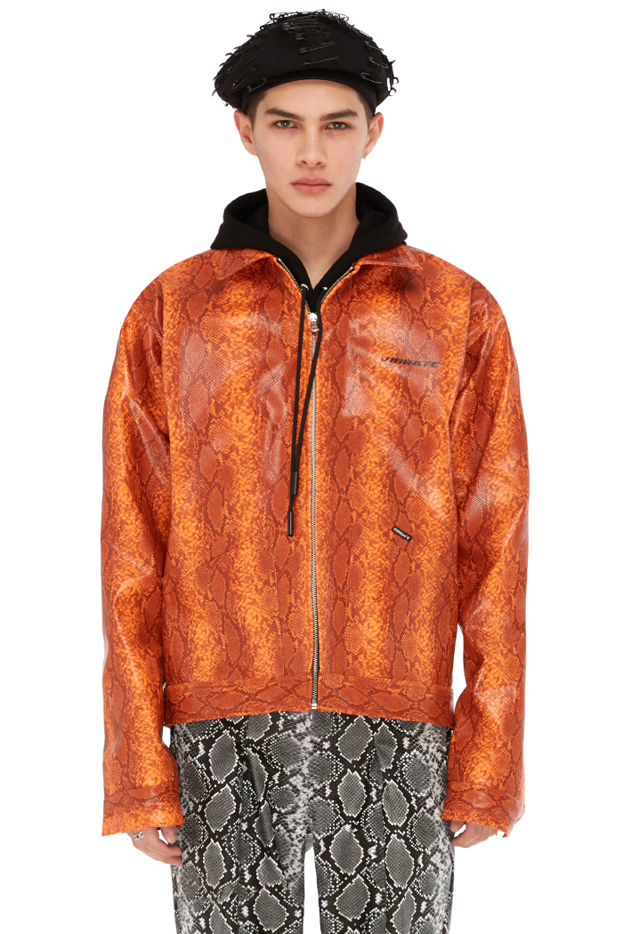 FAUX-PYTHON TRUCKER JACKET (ORANGE)