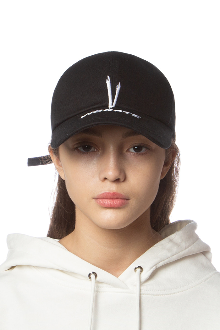 V CHECKING MULTI LOGO BALL CAP (BLACK)