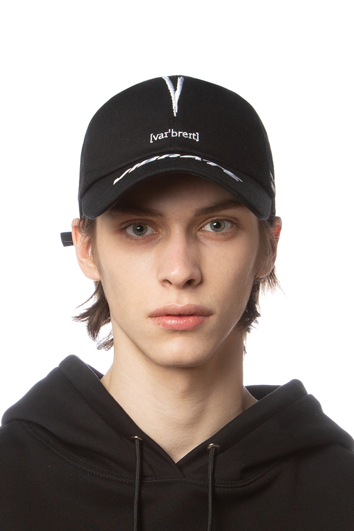 V CHECKING PHONETIC LOGO BALL CAP (BLACK)