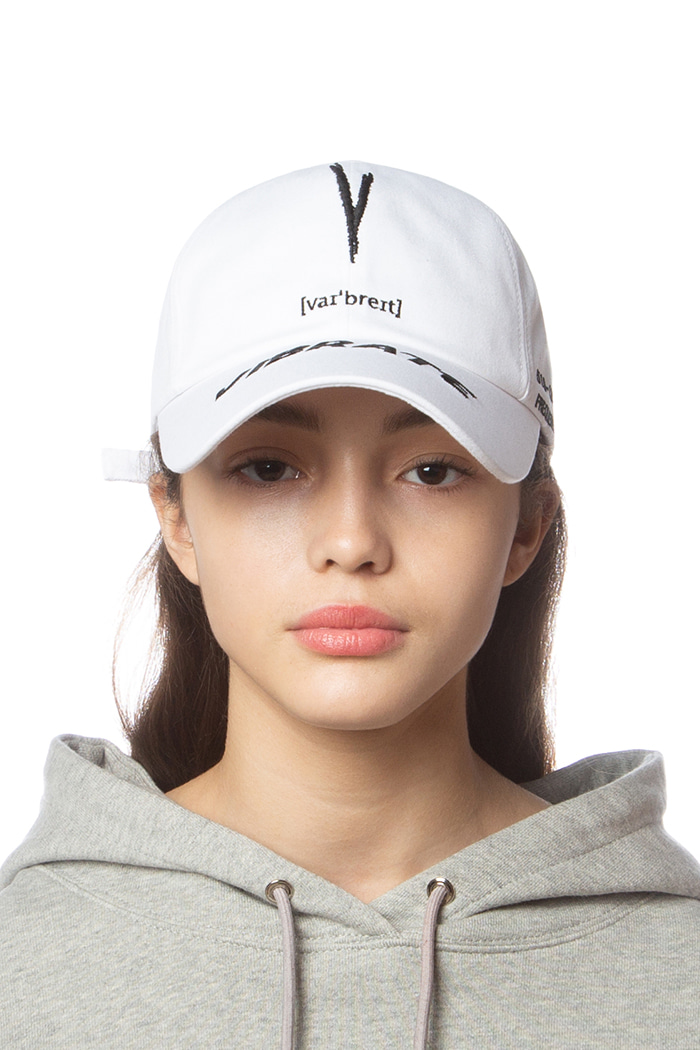 V CHECKING PHONETIC LOGO BALL CAP (WHITE)