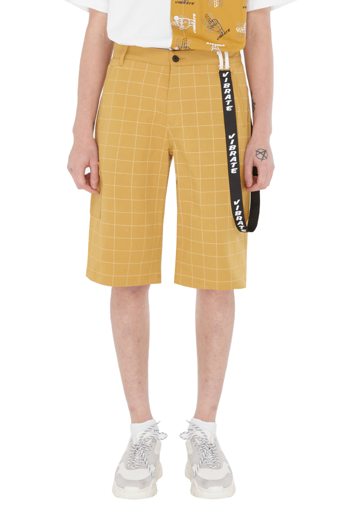 WINDOW CHECK LOOP SHORT PANTS (YELLOW)