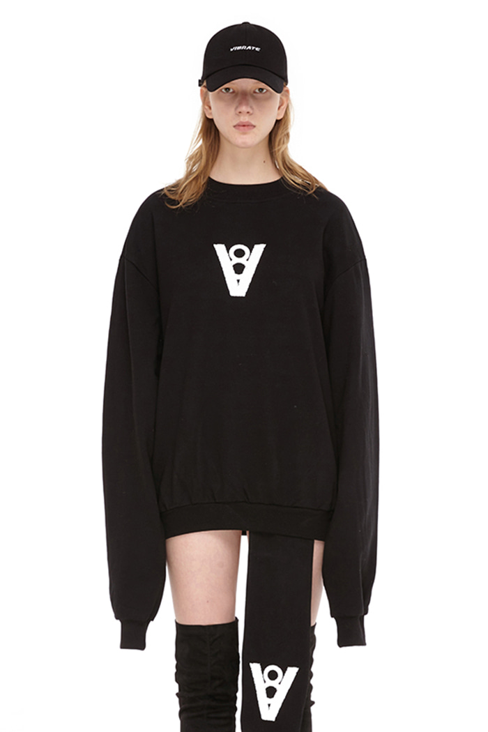 SYMBOL LOGO PATCH SWEAT SHIRT (BLACK)