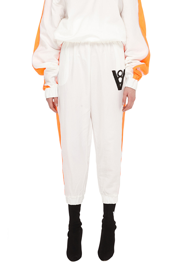 LINE PATCH JOGGER PANTS (WHITE & ORANGE)