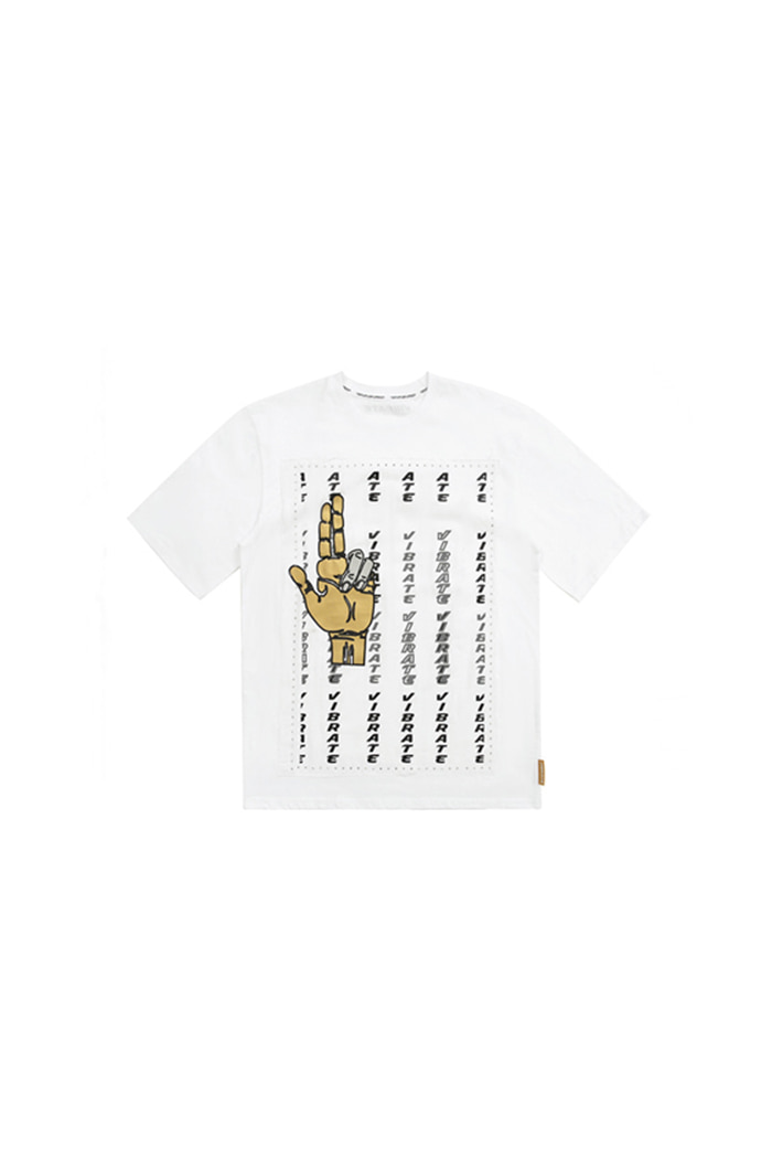 GOLDLINE FINGER GRAFFITI T-SHIRT (WHITE)