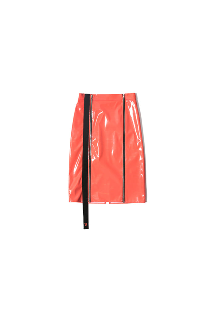 HOLOGRAM ENAMEL SKIRT (ORANGE)