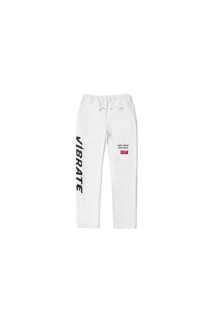 SIDE LOGO PRINT JERSEY PANTS (WHITE)