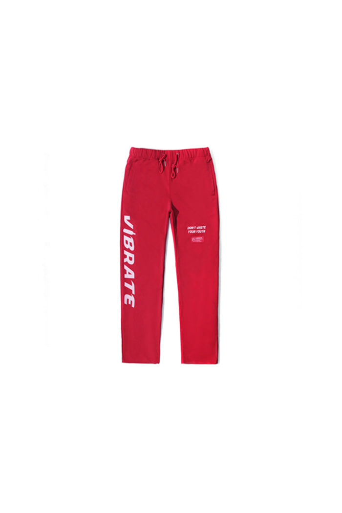SIDE LOGO PRINT JERSEY PANTS (RED)