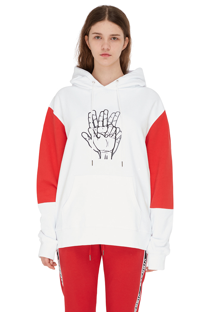 SLEEVE COMBINATION HOODIE (WHITE&RED)