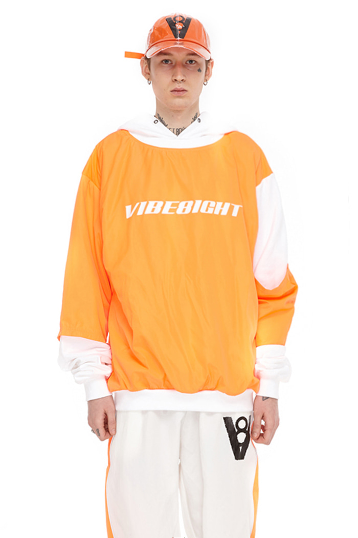 DOUBLE COLOR BLOCK HOODIE (ORANGE)