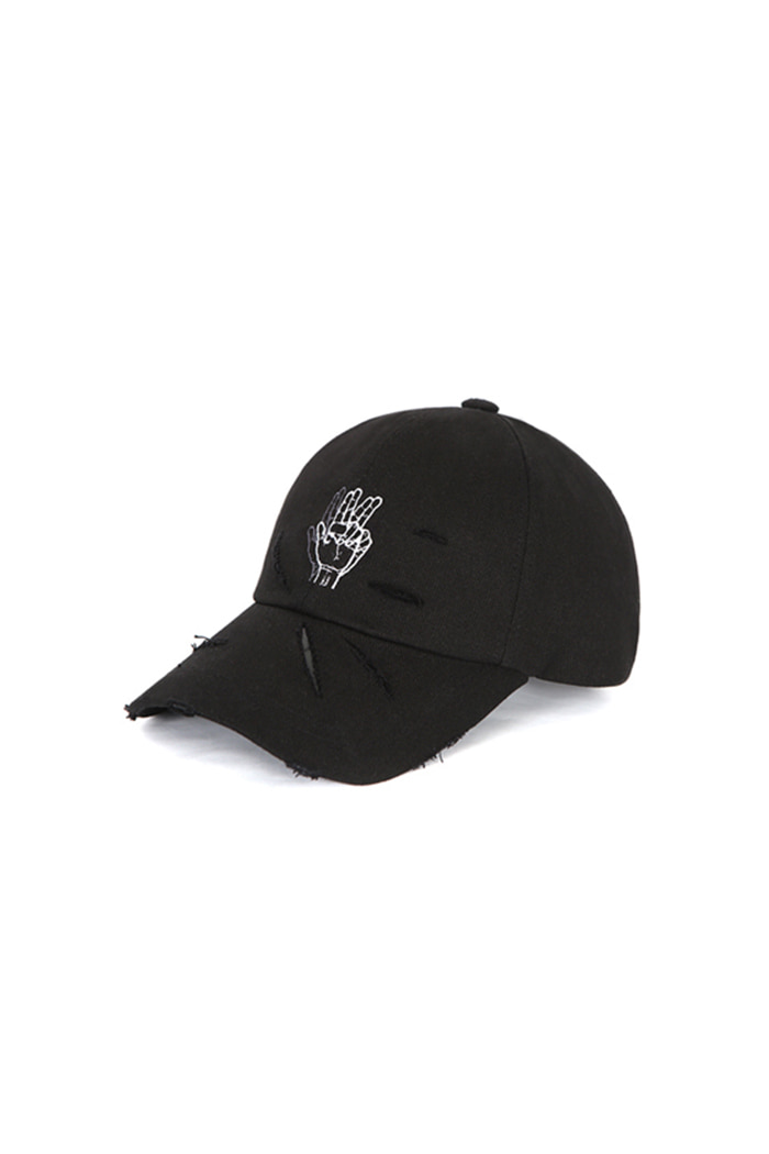DAMAGED FINGER BALL CAP (BLACK)