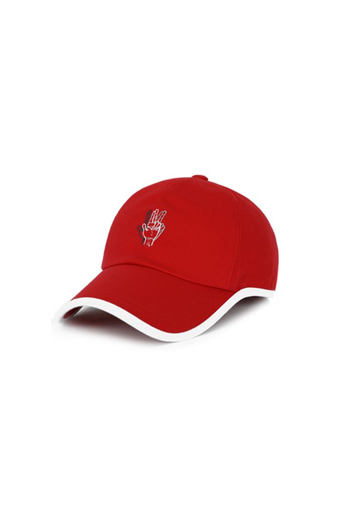 ROUND PATCH HAND LOGO BALL CAP (RED)