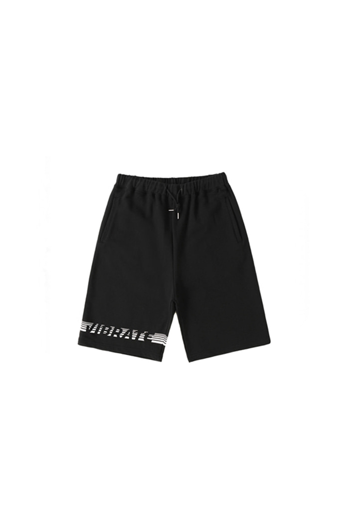 STRIPE LOGO SHORT PANTS (BLACK)