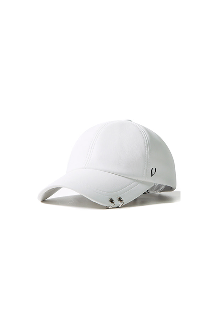 SOFT LEATHER TWIN RING BALL CAP (WHITE)