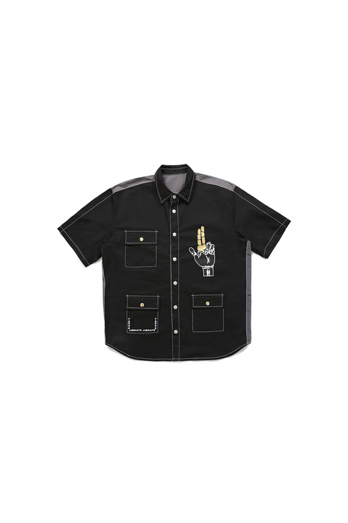 GOLD LINE 3POCKET HALF SHIRTS (BLACK)