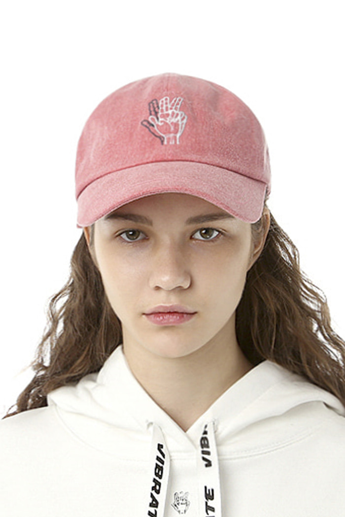 CLASSIC HAND SIGN BALL CAP (WASHING PINK)