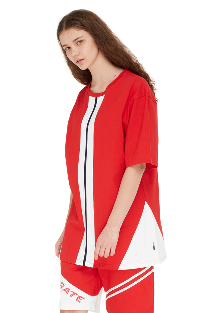 CROSS LINE BACK LOGO T-SHIRT (RED)