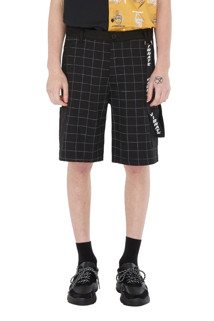 WINDOW CHECK LOOP SHORT PANTS (BLACK)
