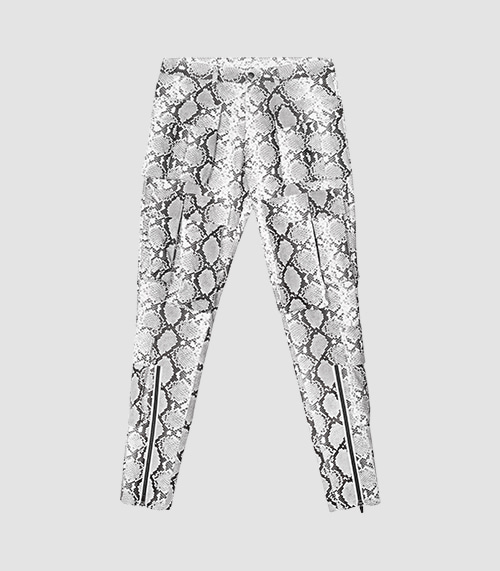 FAUX-PYTHON POCKET PANTS (WHITE)